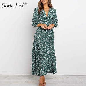 Maxi-Dress Lantern Sleeve Floral-Printed Autumn Single-Breasted Women V-Neck GV095 Three-Quarter