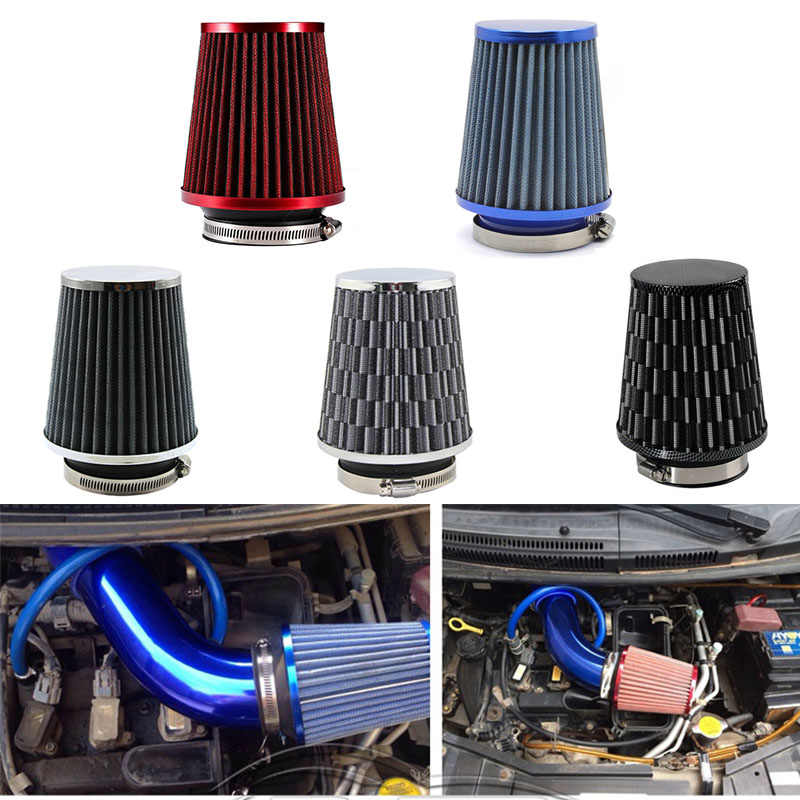 Universele Auto Luchtfilter 76 Mm 3 Inch High Flow Auto Cold Air Intake Filter Aluminium Niet-geweven Stof roestvrij Luchtinlaatslang