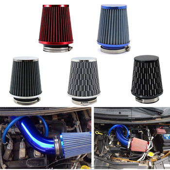 Universal Car Air Filter 76mm 3 Inch High Flow Car Cold Air Intake Filter Aluminum Non-woven Fabric Rustproof Air Intake Hose universal car air filter 76mm 3in cone shaped high flow cold air intake mesh filter black mushroom head motorbike cleaner new