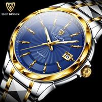 LIGE Original Brand Wrist Watches Mens Automatic Self-Wind Tungsten Steel Waterproof Business Mechanical Watch Relogio Masculino