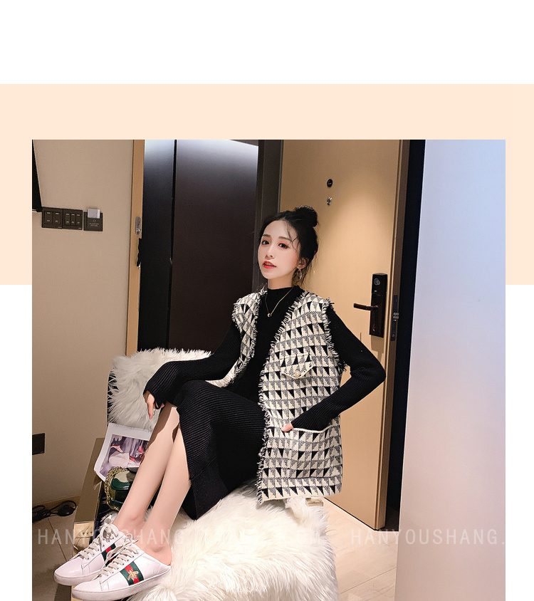 H7b06a8a53abd4ba2a07282bd494a3f74V - Vintage Elegant Two Piece Sets Outfits Women Knitting Long Dress And Vest Suits Ladies Ins Style Autumn Winter 2 Pcs Sets