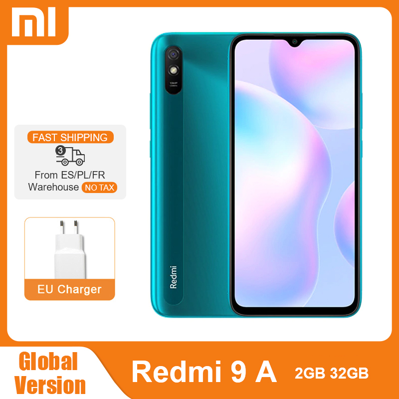 "Global Version Xiaomi Redmi 9A 2GB RAM 32GB ROM 9 A Mobile Phone MTK Helio G25 Octa Core 13MP AI Rear Camera 6.53"" HD+ 5000mAh