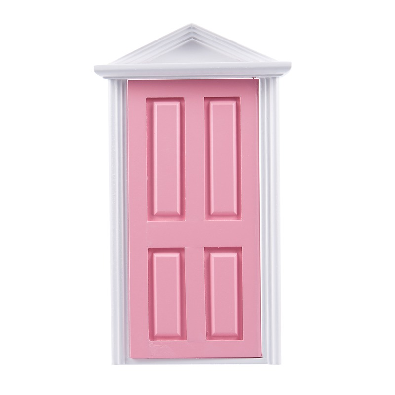 1:12 Scale Wooden Fairy Steepletop Door Dollhouse Miniature Accessory Pink