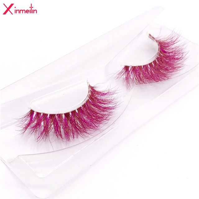 New 9D red mink color lashes wholesale natural long fluffy individual dramatic colorful false eyelashes Makeup Extension Tools 1