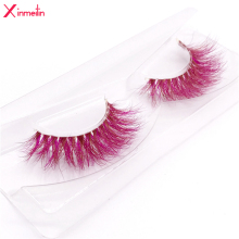 New 9D red mink color lashes wholesale natural long fluffy individual dramatic colorful false eyelashes Makeup Extension Tools