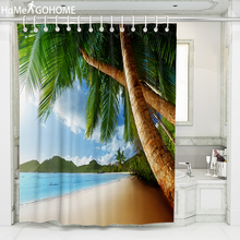 Chic Coconut Tree Beach Landscape Shower Curtain Waterproof Fabric Bath Curtain 3D Seascape Home Decoration Bathroom Curtains window scenery coconut tree shower curtain and rug