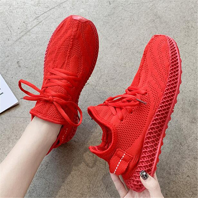 LZJ Best Selling Women's Sneakers Fashion Mesh Flat Shoes Comfortable Breathable Low To Help Lace-up Women's Vulcanized Shoes