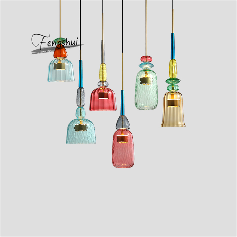 Modern Stained Glass <font><b>Pendant</b></font> <font><b>Lights</b></font> Colorful Hanging Lamp Loft Hanglamp for Dining Room Kitchen Home Fixtures Industrial Decor image