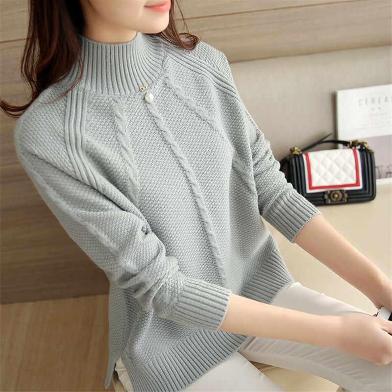 2020 최신 패션 여성의 한국 스타일 느슨한 스웨터 여성 캐주얼 뜨개질 두꺼운 Pullovers 숙녀 터틀넥 LWL580