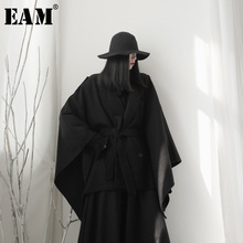 Cloak Spring Long-Sleeve Loose Woolen Coat Oversized Autumn Fashion Women EAM New Fit