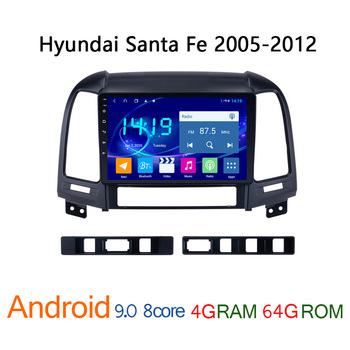 4G RAM 64G ROM autoradio for Hyundai Santa Fe 2005 2012 android car radio coche audio DVD multimedia player GPS navigator auto image