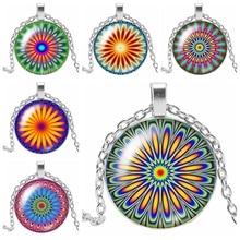 HOT! 2019 New Creative Geometry Kaleidoscope Glass Cabochon Pendant Fashion Charm Girl Jewelry Necklace Accessories