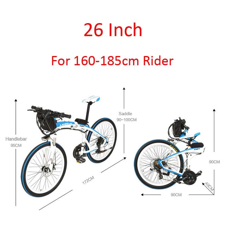 LKS GP 26 400W E-bike Quick-Folding Mountain Bicycle Suspension Fork Front /& Rear Disc Brake 48V Battery Electric Bike Black White, 18Ah + 1 Spare Battery
