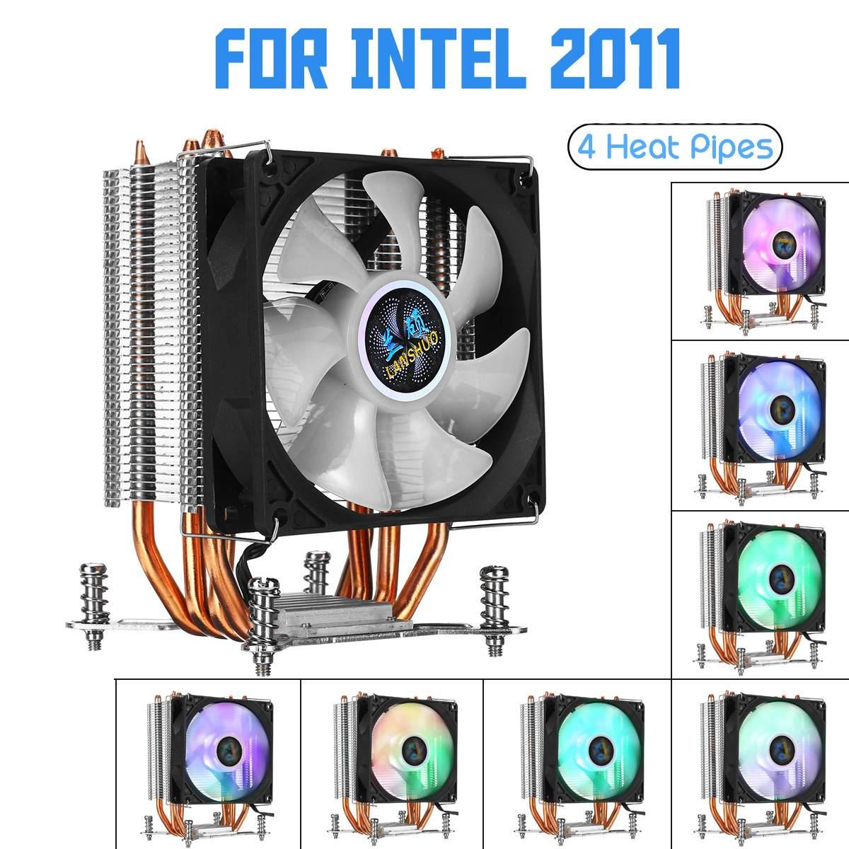 4 Copper Heatpipe CPU Cooler For Aurora Light Cooling Fan 90mm With RGB For Intel LGA 2011 CPU Cooler Heatsink Radiator