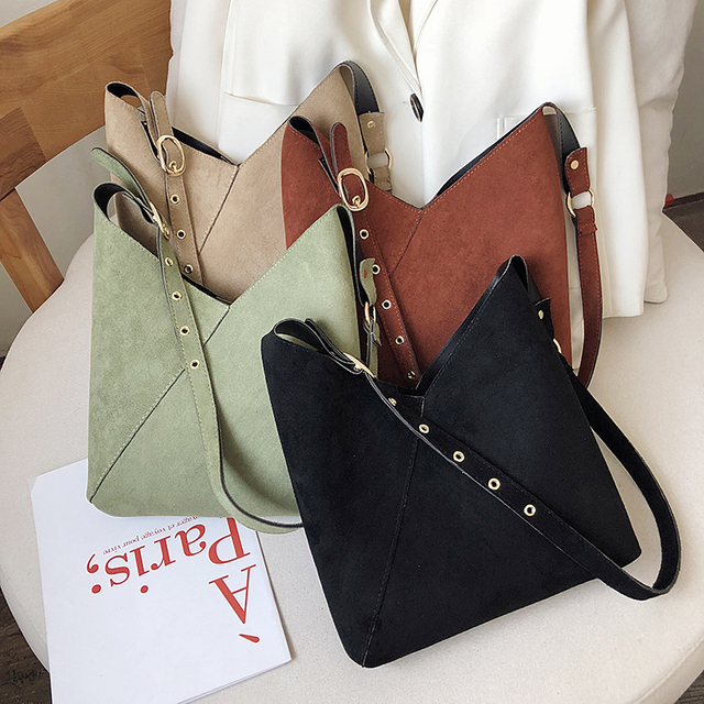 Splicing Contrast Bucket Shoulder Bag  4