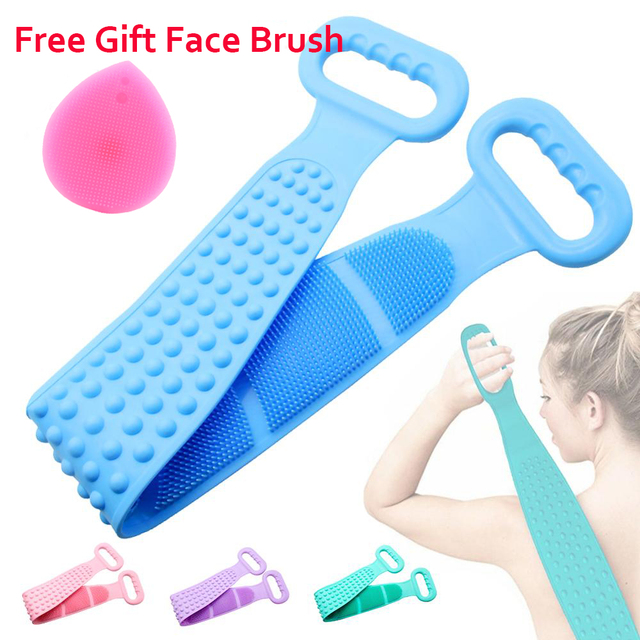 Deep Cleaning Bath Shower Silicone Body Brush Bath Belt Exfoliating Back Brush Belt Wash Clean 28'' Bath Scrub Belt Beauty Tools