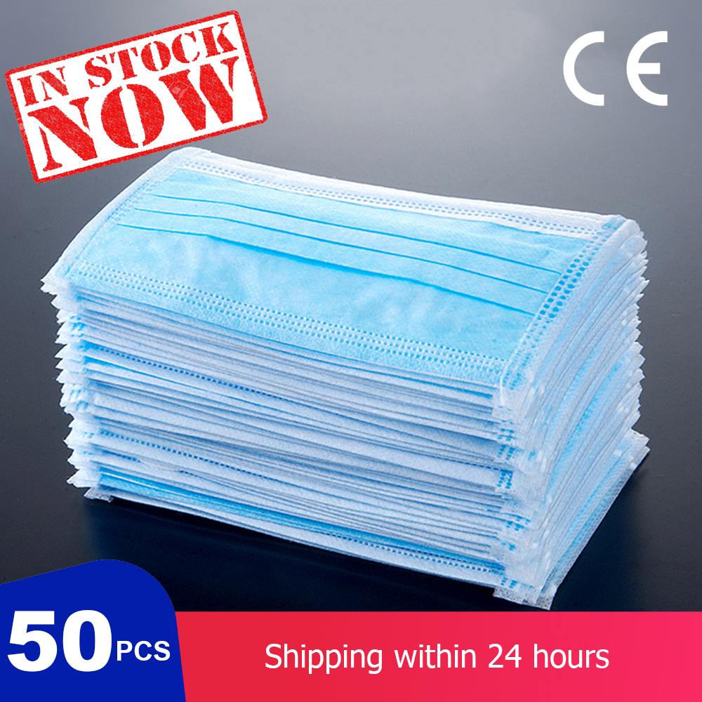 Disposable Masks 3 Layers Cover 50pcs Mask Dustproof Facial Protective Mask Dustproof Face Mouth Mask