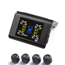 Car-Tire Pressure-Alarm-Monitor-System TPMS Real-Time-Display Solar-Power 4-Sensors Wireless