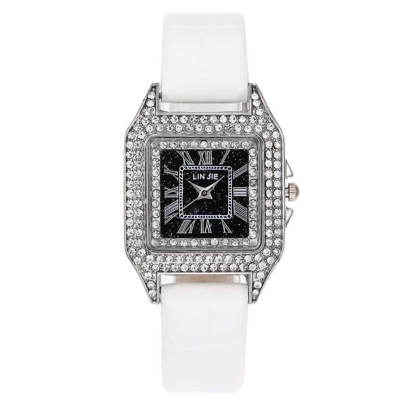 אישה שעון יוקרה יהלומי קוורץ נשים שעונים כיכר שעוני יד גבירותיי מקרית עור שעון יד נשים אלגנטי נשי שעון