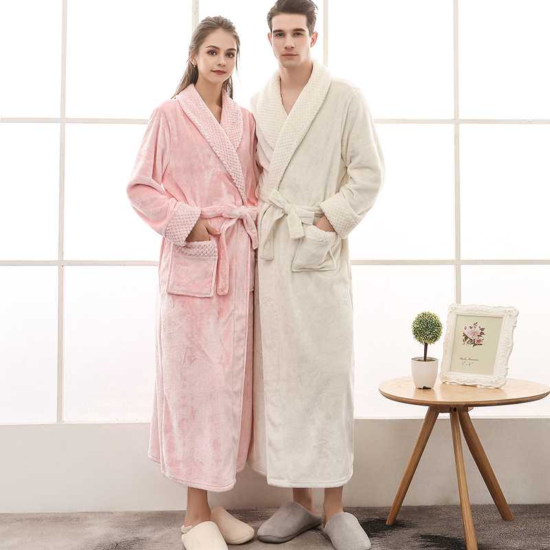 Men Women Winter Extra Long Thicken Grid Flannel Warm Bath Robe Luxury Soft Thermal Bathrobe Mens Dressing Gown Male Sexy Robes