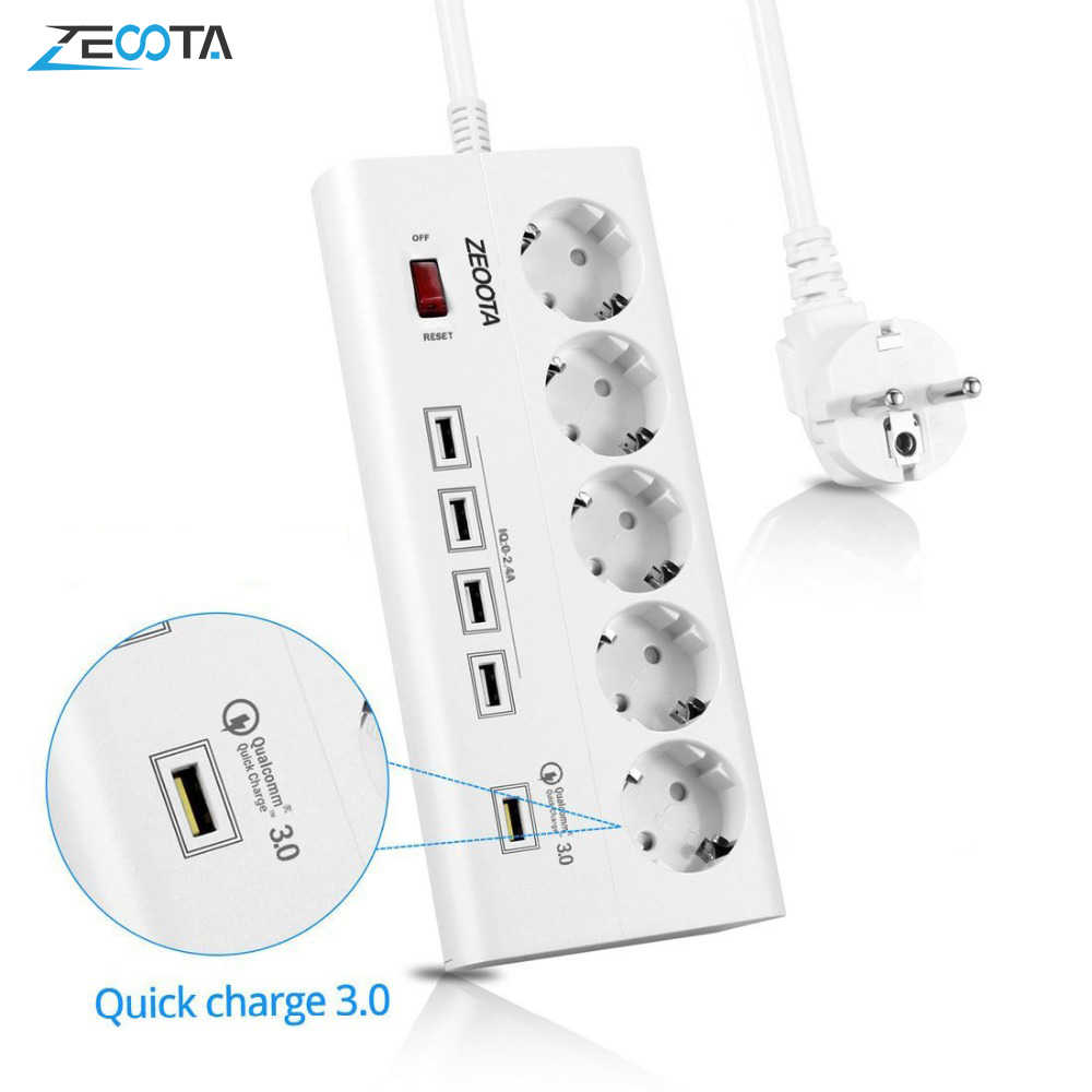 Power Strip 5 Eu Outlets Stopcontact Met Usb Qc 3.0 Quick Charge Port Voor Pc Smartphones Tabletten Computer 1.8M Verlengsnoer