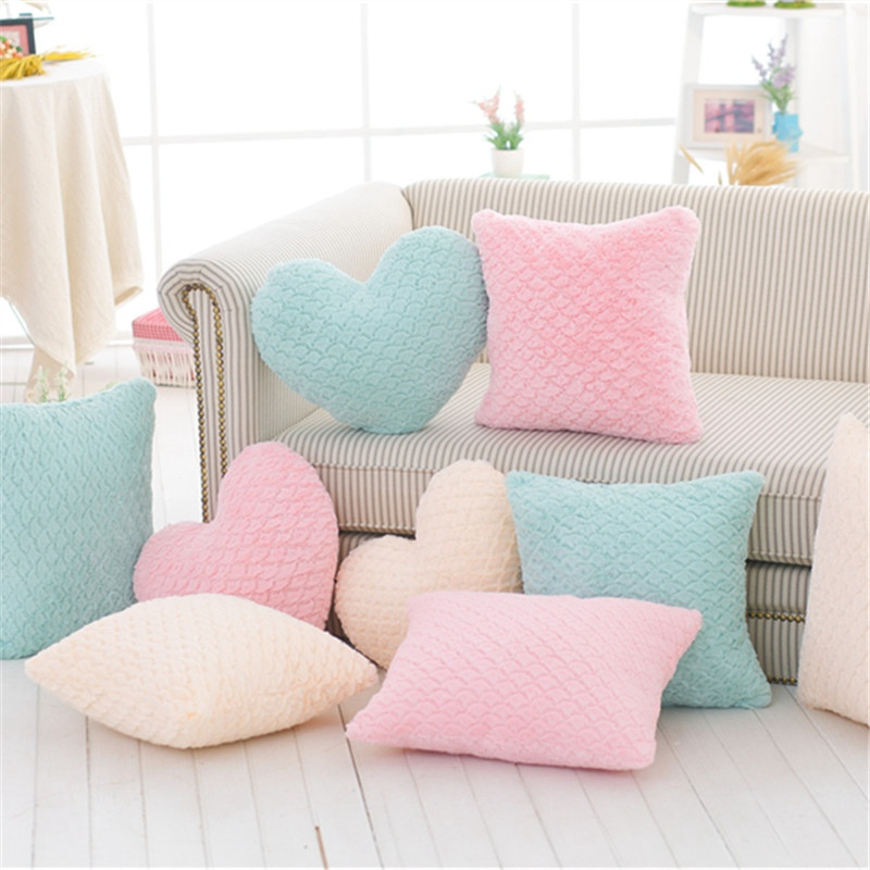 New Crown Plush Pillow Colorful Stuffed Soft Heart Square Rectangle Shape Throw Cushion Baby Kids Gift Girls Room Decoration