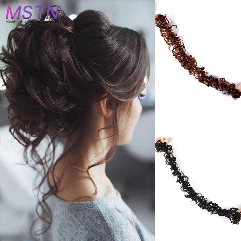 MSTN Women's Long Synthetic Hair Ring Hair Piece Elastic Band  Female Hairbun Extention Wig Messy Hair Bun