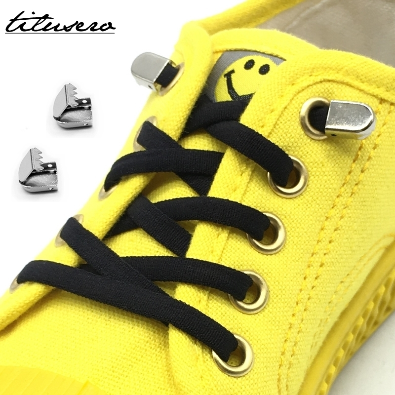 1pair Quick Lazy No Tie Shoelaces Elastic Children & Adult Shoelaces Metal Buckle Shoe Laces F093
