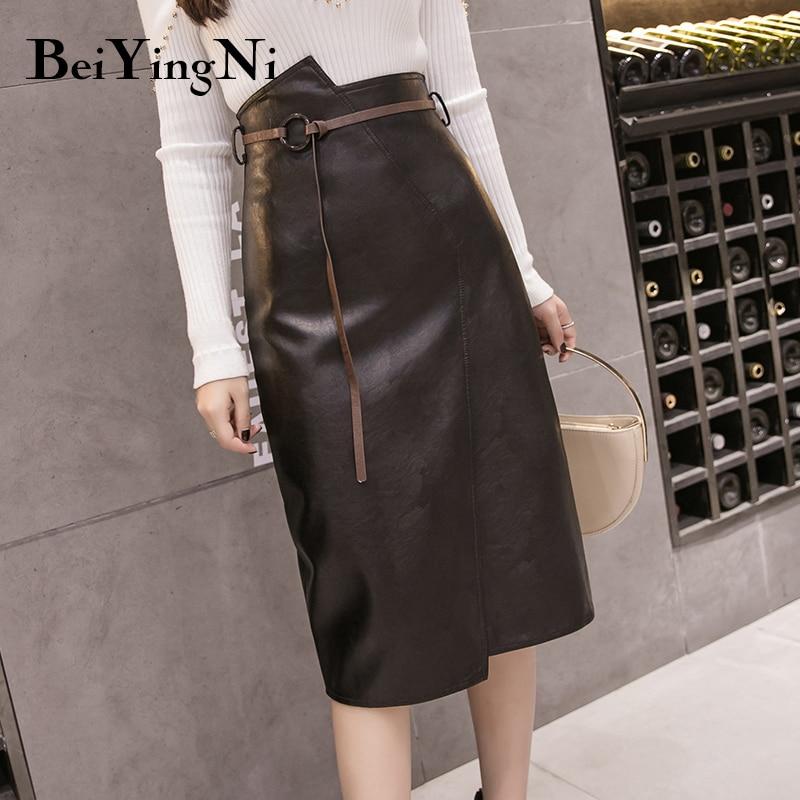 Beiyingni PU Leather Skirt For Woman Belt Irregular Package Hip Midi Skirts Womens Slim Fashion Solid Color OL High Street Skirt