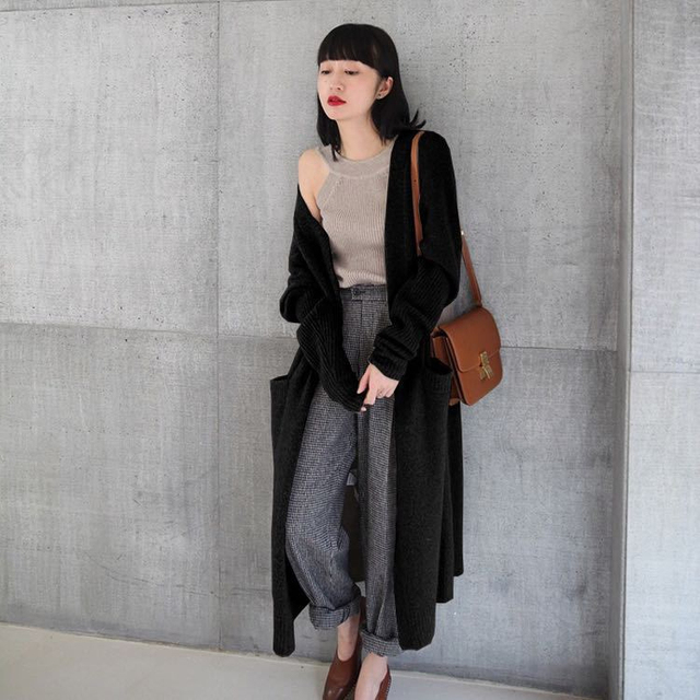 Ailegogo New 2020 Autumn Winter Women's Sweaters Korean Style Fashionable Minimalist Solid Color Casual Long Cardigans SWC8133 5