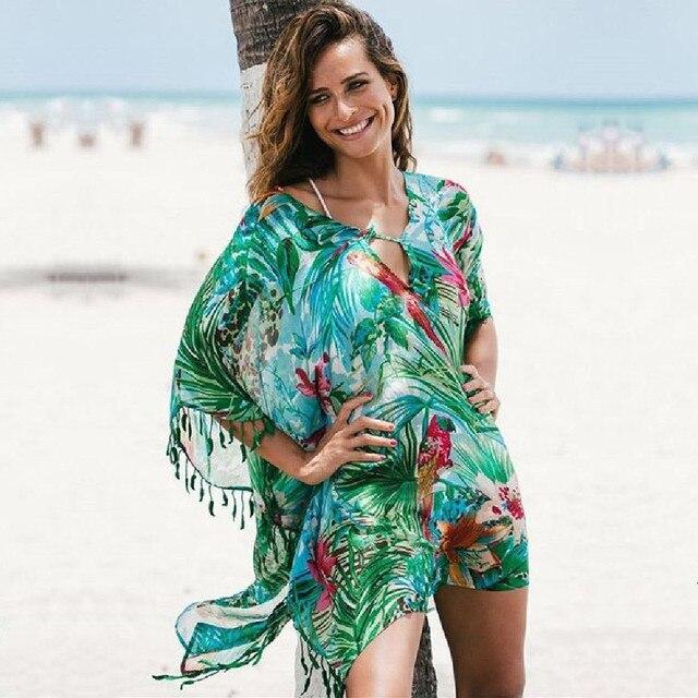 2020 تونك لشاطئ ثوب السباحة التستر الشيفون فستان الشاطئ ملابس للنساء بيكيني التستر صيدا دي برايا # Q523التستر