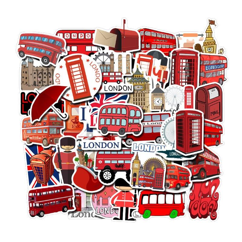 50Pcs England Landmark British London Bus Telephone Booth Decorative Stickers Phone Laptop Scrapbook Luggage Bags Accessories