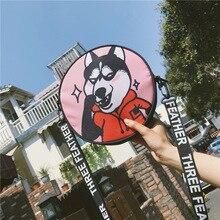 Japanese Shoulder Bag Harajuku Style Husky Dog Print Girl Cool Round Hip Hop Party for Women Clutch Bags
