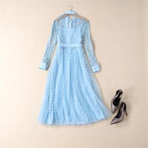 Image 3 - Prenses Kate Middleton elbise 2020 yüksek kalite pist kadın elbise yay boyun uzun kollu nakış örgü zarif elbiseler NP0735C