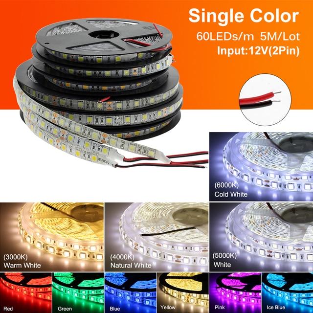 LED Strip 5050 DC12V 60LEDs/m Flexible LED Light RGB RGBW 5050 LED Strip 300LEDs 5m/lot 1