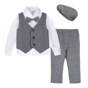 Baby Formal Suit Infant Blazer Toddler Gentleman Tuxedo Outfit Wedding Birthday Gift Winter Long Sleeve Clothes Set 4PCS(China)