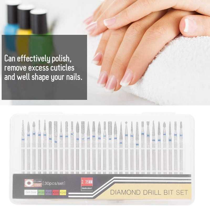 Комплект сверла для ногтей, 30 шт./компл. алмазная шлифовальная насадка для ногтей искусство дрель польский печатающей головки комплект Фрезер для ногтей, сверлильный станок, аксессуары, для ногтей чистки