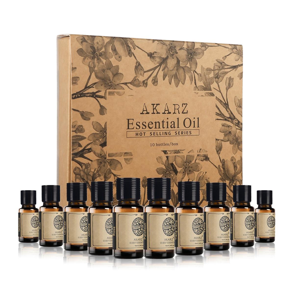 AKARZ Hots 10 Sets Sandalwood,Musk,Lavender,Jasmine,Rose,Patchouli,Ylang Ylang,Vanilla,Eucalyptus,Myrrh Essential Oil Diffuser