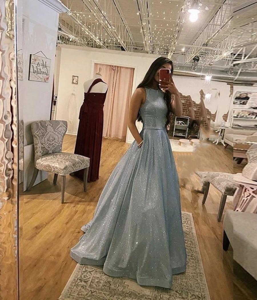 A Line Prom Dresses Long with Pockets Floor Length Sequins Party Gowns Women's 2020 Formal Evening Dresses вечерние платья