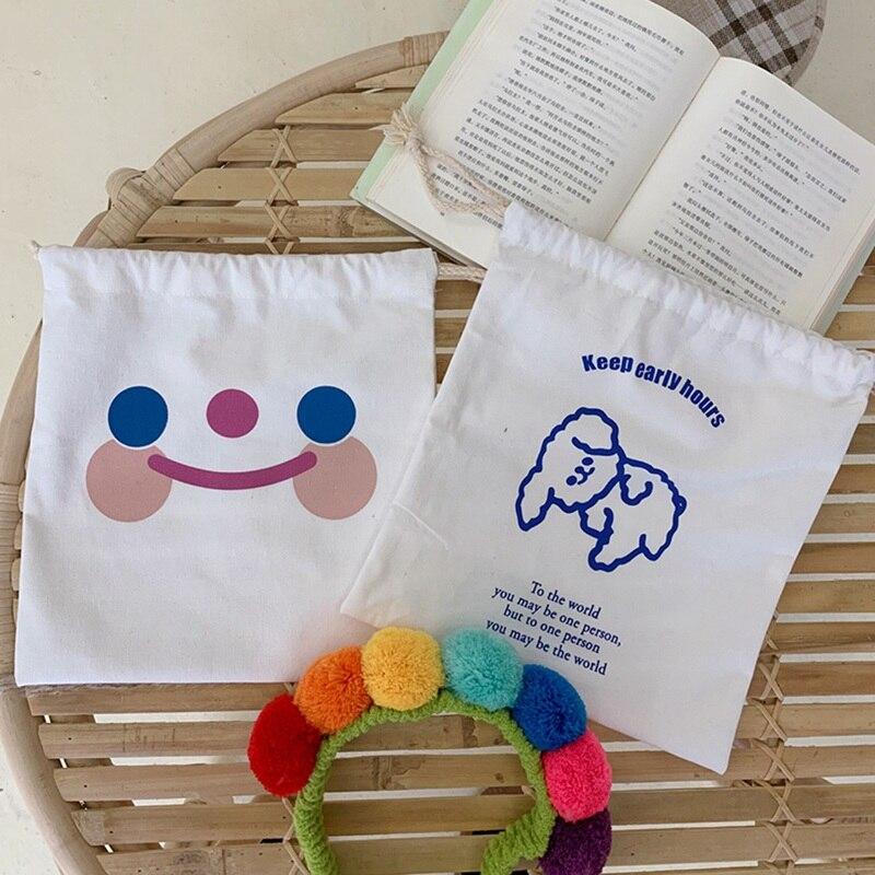 Cute Durable Cloud Smile Drawstring Bags Cute Pattern Pocket Girl Storage Carrying Case Puppy Bunch Pocket Drawstring Bag