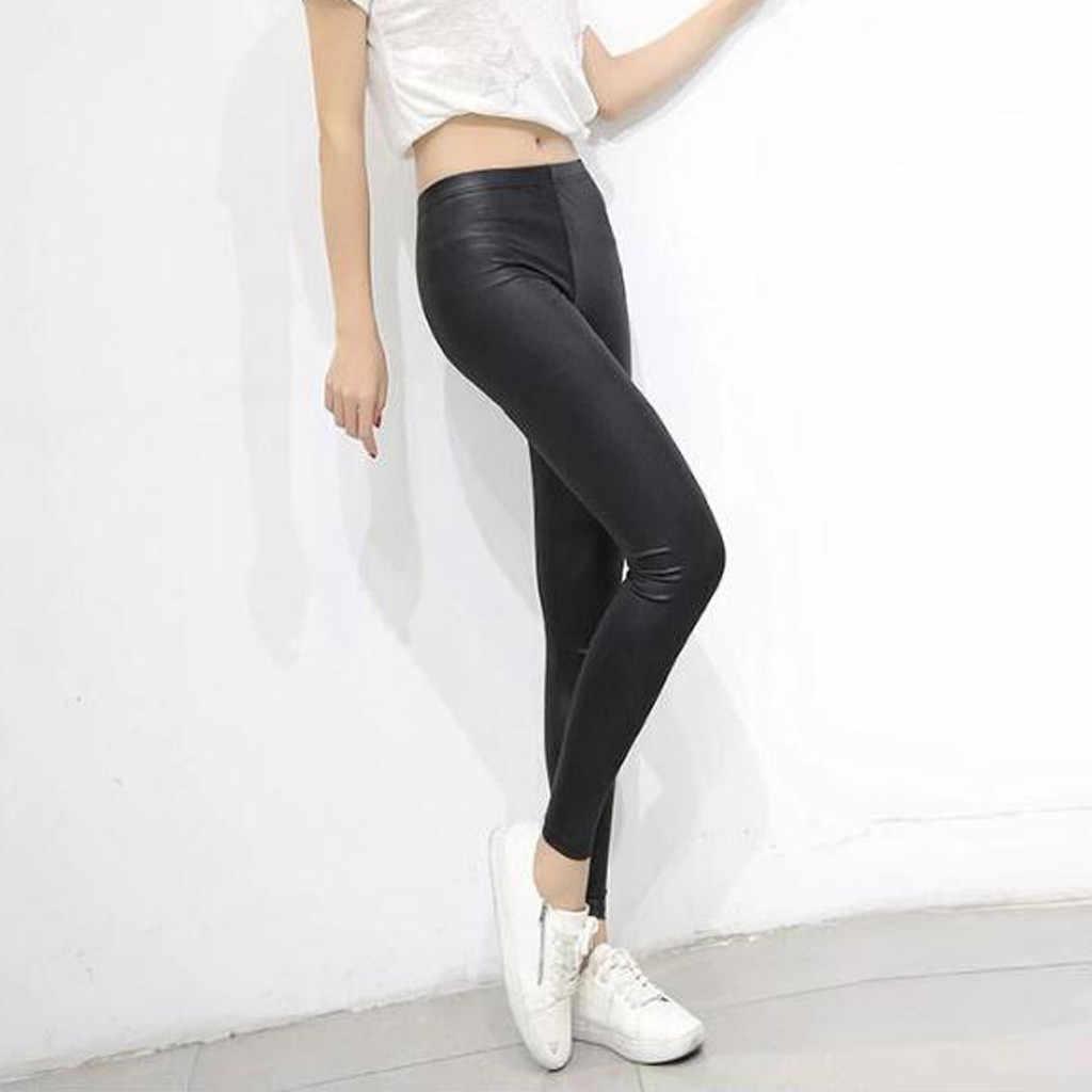 S-4XL 新秋フェイクレザー 2019 ファッションセクシーな薄型黒レギンス Calzas Mujer レギンスレギンスストレッチプッシュアッププラスサイズ