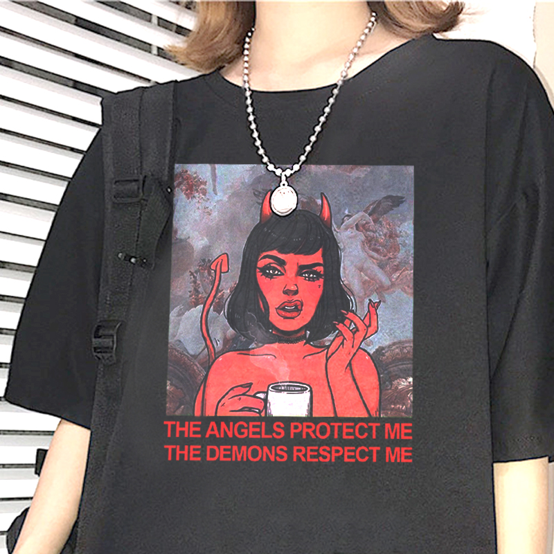 Angel-protect-me-devil-respect-me-print-T-shirt-chic-Harajuku-retro-BF-large-size-loose
