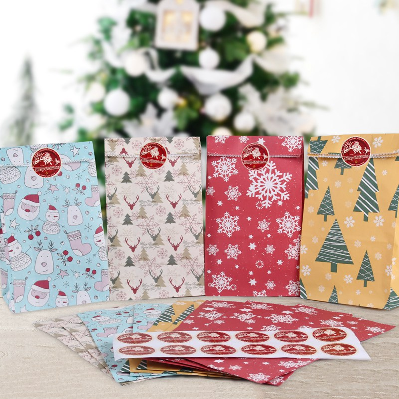 HUIRAN Christmas Gift Wrapping Kraft Paper Bag Christmas Party Cookies Present Gift Bag Christmas Party Decorations Supplies