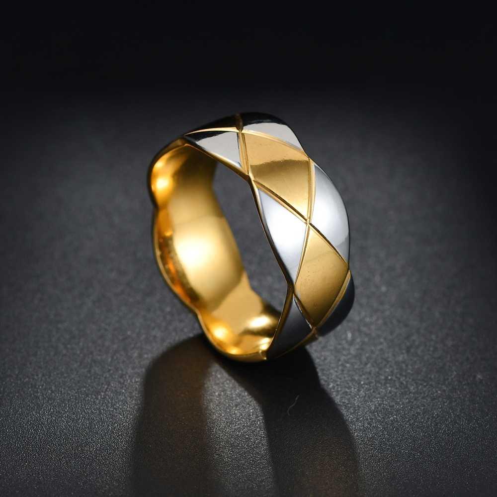 Costellazione di Titanio In Acciaio Inox Semplice Anello Wedding Band 8 millimetri Colorato Arcobaleno Coppie Re/queen Anello di Umore del Cambiamento di Colore