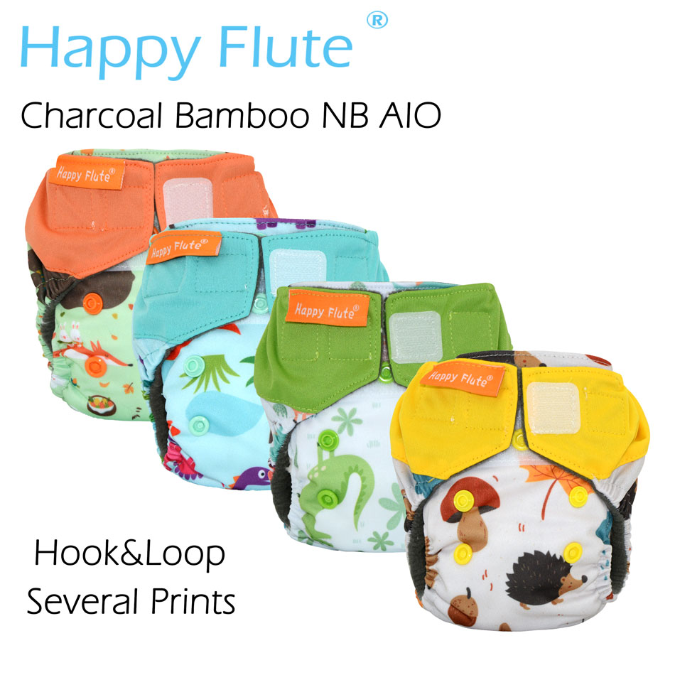 HappyFlute Newborn Charcoal Bamboo AIO,sewn Inside Insert,double Leaking Guards,waterproof, Fits 0-3months Baby Or 6-12 Lbs,