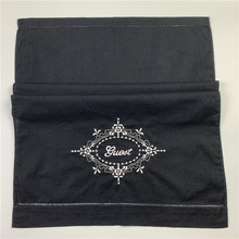 Set of 12 Fashion Black Cotton Guest Towels Hand Towels white Embroidery Floral Handkerchiefs Towel Hemstitchd Border 14x22-inch(China)