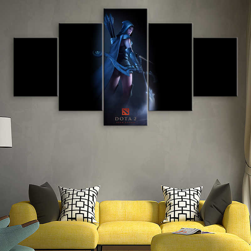 5 peças Impressa Pintura Da Lona Pictures Wall Decor 2 Dota Drow Ranger Jogo Poster Pintura Para Sala Arte Da Parede arte