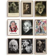 Gran científico Albert Einstein carteles lienzo pintura Vintage Kraft niños póster clásico pared arte pegatinas para guardería