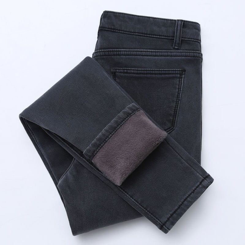 Winter high waist jeans women Thick warm stretch skinny pencil pants Female Simple casual black plus size trousers