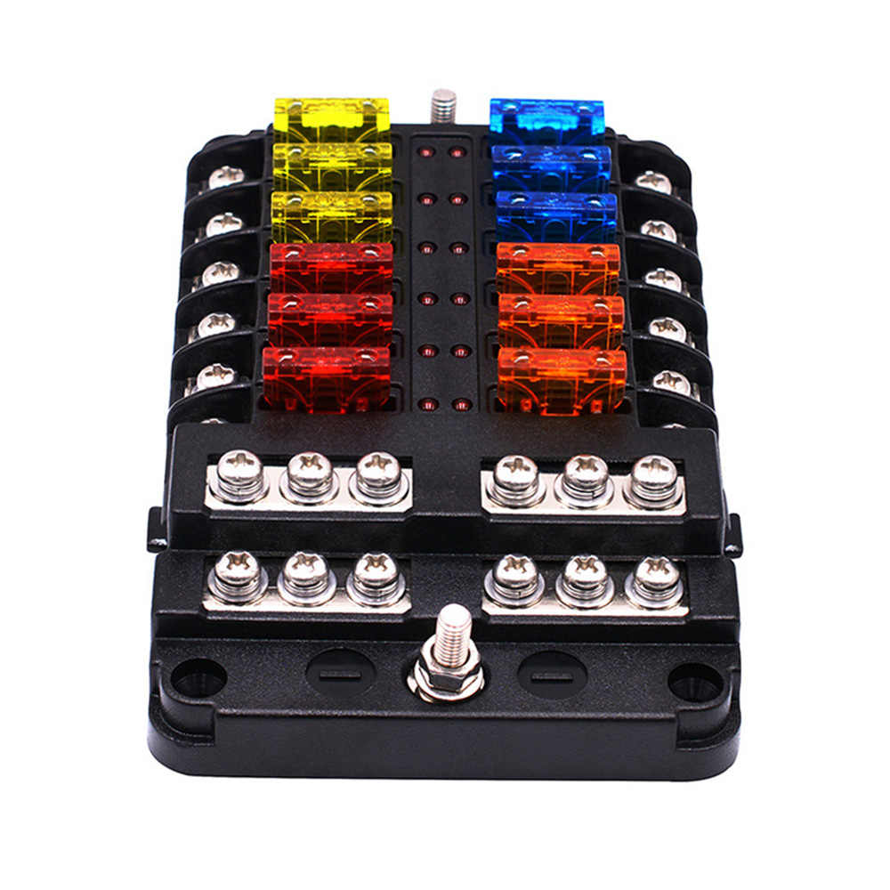 12V 32V Plastic Cover Fuse Box Support M5 Bolt With LED Indicator Light Hide Fuse Box Safety on